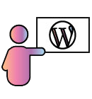 WordPress training icon a person pointing to a wordpress symbol